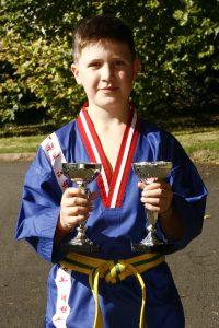 DOUBLE SILVER: Oscar Hegarty - Under 16's yellow belt patterns & yellow/green belt lightweight sparring. (c)MiraclePR